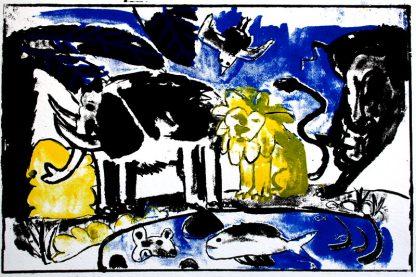 הדפס משי נוח שחור כחול צהוב