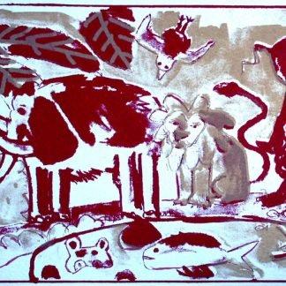 הדפס משי נוח- אדום-זהב