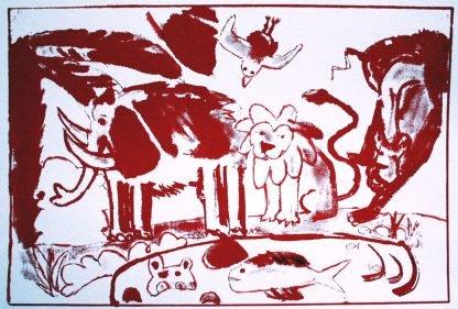 הדפס משי נוח אדום