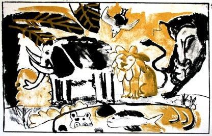 הדפס משי נוח שחור זהב