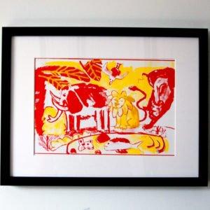 הדפס משי נוח אדום צהוב ממוסגר