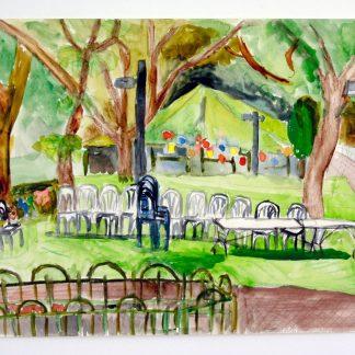 ציור אקווארל של גן המעיין