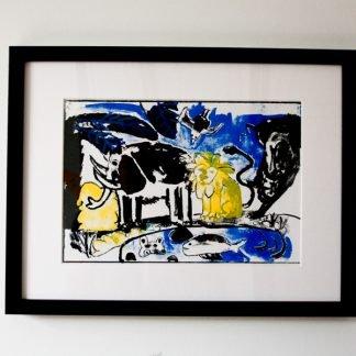 הדפס משי נוח שחור צהוב כחול ממוסגר