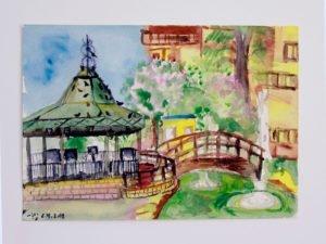 ציור אקווארל של הפגודה בגן העיר