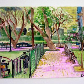 ציור אקווארל של גן המעיין 2