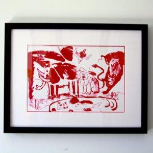 הדפס משי נוח אדום ממוסגר