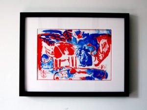 הדפס משי נוח כחול אדום גודל 25\35 סמ