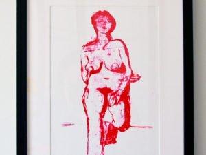 הדפס משי עירום אישה עומדת אדום גודל 25\35 סמ