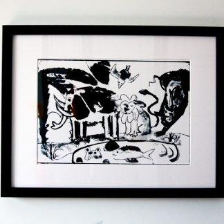הדפס משי נוח שחור ממוסגר