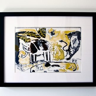 הדפס משי נוח שחור זהב ממוסגר