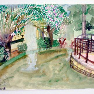 ציור אקווארל של מזרקות בגן העיר