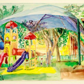 """ציור אקווארל של גן שעשועים בראשל""""צ"""