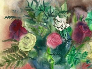 זר ורדים אדומים, לבנים וורודים. הדפס אמנות מציור אקוורל מקורי