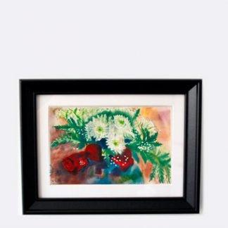 סט של שלושה הדפסים ממוסגרים ורדים אדומים
