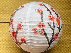 אהיל נייר אורז עם פריחת הסאקורה (דובדבן)