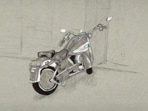 "T-SHIRT עם הדפס של אופנוע תכלכל בת""א"