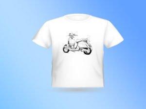 T-SHIRT עם הדפס של רישום של אופנוע ווספה