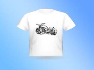 חולצת טריקו מודפסת עם רישום של אופנוע הארלי מהצד