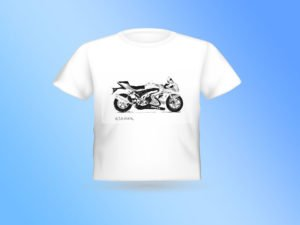 T-SHIRT עם הדפס של רישום של אופנוע סוזוקי