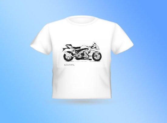 חולצה לבנה אופנוע סוזוקי