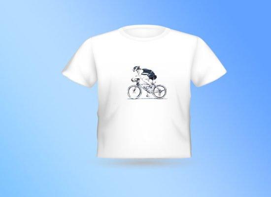חולצה לבנה רוכב אופניים