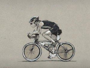 הדפס של רוכב אופניים על נייר אמנות