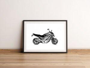 """פוסטר של אופנוע מראשל""""צ מספר 2. הדפס אמנות."""