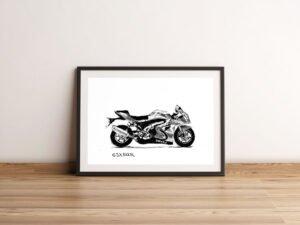 רישום של אופנוע סוזוקי הדפס על נייר אמנות