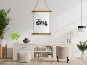 הדפס יפני של איור אופנוע הארלי דוידסון