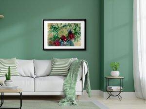 ורדים עם גיבסנית הדפס אמנות מציור אקוורל מקורי