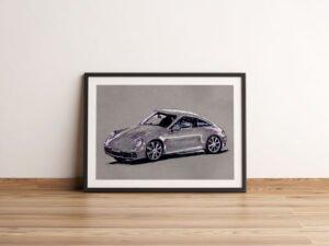 הדפס של רישום של מכונית פורשה על נייר אמנות