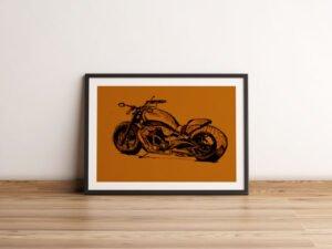 רישום של אופנוע הארלי דוידסון מהצד. הדפס על נייר אמנות