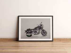 פוסטר של אופנוע מוטוגוצי וי7 על נייר אמנות