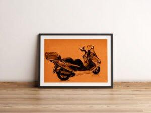 הדפס של רישום של קטנוע תל אביבי על נייר אמנות.