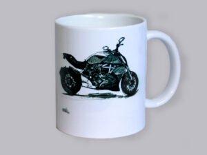 כוס מאוירת של אופנוע דוקטו דיאבל