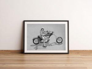 פוסטר של האופנוען משכונת רמז על נייר אמנות